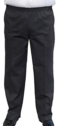 The Senior Shop Men's Full Elastic Waist, No Zipper, Buttons or Loops, Pull On Twill Casual Pant (L/30-Black)