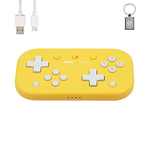 8Bitdo Lite Gamepad Wireless Bluetooth per Nintendo Switch/Windows/macOS/Raspberry Pi Controller Giallo con Portachiavi