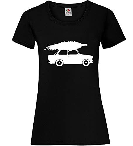 Trabant mit Weihnachtsbaum Frauen Lady-Fit T-Shirt Schwarz M - shirt84.de