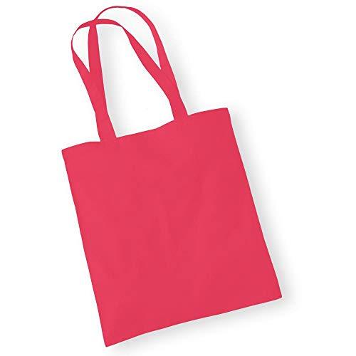 Westford Mill - Baumwoll-Tragetasche mit langen Henkeln / Raspberry Pink, One
