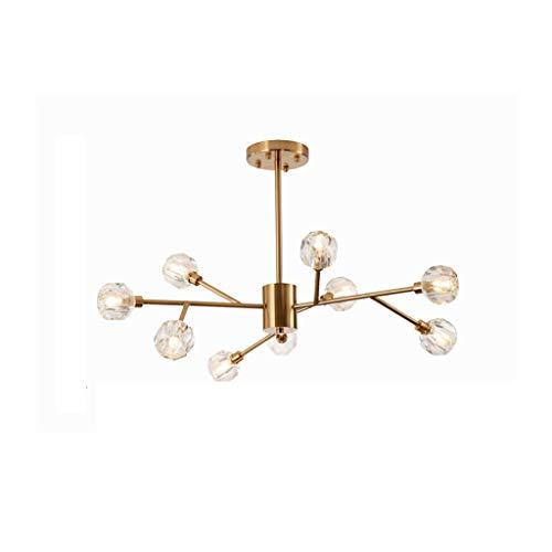 HGDH Iluminación Moderna Nordic Pendientes de la lámpara, Ramas de árboles Arte Bola Transparente de Cristal Lámparas de luz 9, Sala, Oro (Size : 9head)