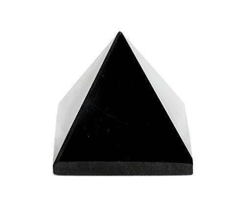 Healing Crystals - Natural Black Tourmaline Crystal Pyramid | Energy Balancing | Large 2 Inche Base | Tumbled Pyramid