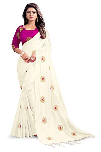 kfgroup Women's Paper Silk Embroidered Saree Indian Ethnic Dresses Wedding Sari with Blouse (White)