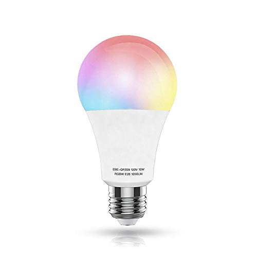 WiFi Smart LED Light Bulb,10W?100W Equivalent)(White 60W) E26 Warm White+RGB Dimmable Multicolored Light Bulb, Free APP Remote Controlled,No Hub Required,Compatible with Alexa and Google Home