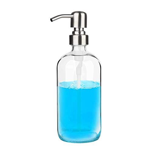 Glubee Seifenspender Glas – transparenter Pumpspender für Küchenspüle, Glas-Handseifenspender, ideal für ätherische Öle, flüssige Seifen (500 ml)