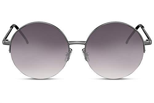 Cheapass Sonnenbrille Rund Groß Gold Violett-es Verlaufsglas UV-400 Hippie-Brille Festival X-XL Halbrahmen Metall Damen
