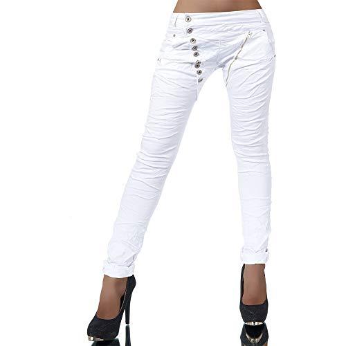 Damen Jeans Hose Boyfriend Damenjeans Harem Baggy Chino Haremshose L368, Farbe: Weiß, Größe: 40