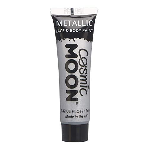 Cosmic Moon - Peinture de maquillage métallique pour le visage et le corps - 12ml - Créez des motifs de maquillage métallique fascinants pour visage! - Inclut: Argent