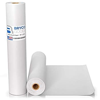 White Kraft Arts and Crafts Paper Roll - 18 inches by 100 Feet  1200 Inch  - Ideal for Paints Wall Art Easel Paper Fadeless Bulletin Board Paper Gift Wrapping Paper and Kids Crafts - Made in USA