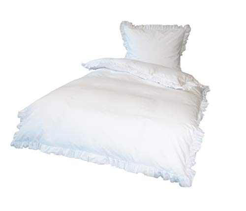 Krollmann 4-TLG. Bettwäsche Set Rüschen mit Reißverschluss aus 100% Baumwolle, Deckenbezug 135x200cm, Kissenbezug 80x80cm, Vintage-Stil Retro Style Natur Weiß