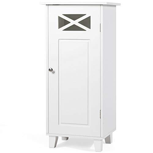 GLACER Bathroom Floor Storage Cabinet, Single Door Bathroom Cabinet with Adjustable Shelf, 12 x 15 x 32 inches (White)