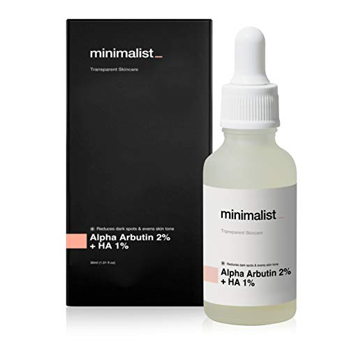 Minimalist 2% Alpha Arbutin Serum for Pigmentation & Dark Spots Removal, 30 ml   Anti-pigmentation Face Serum For Men & Women with Hyaluronic Acid to Remove Blemishes, Acne Marks & Tanning