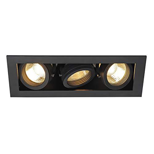 SLV Encastré KADUX 3 Lampes   Rectangulaire   Noir Mat   Orientable Inclinable Multidirectionnel