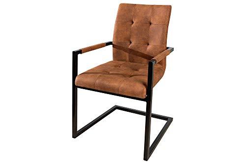DuNord Design Stuhl Esszimmerstuhl 2er Set braun mit Armlehne Retro Vintage Design Küchenstuhl