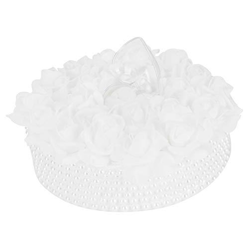 JYLSYMJa Boîte d'oreiller à bagues, boîte à bagues de Mariage avec nœud de Ruban, Fournitures de décoration de Roses en Forme de gâteau, pour Les Mariages sur la Plage, Blanc(C)