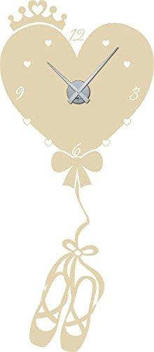 GRAZDesign muursticker klok hart als luchtballon - kinderklok kinderen wandklok ballerina / 800642 Uhrwerk silber 082, beige