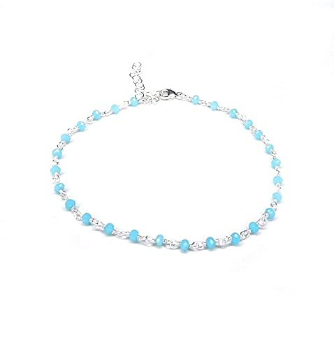 Sterling Silver Anklet Beaded with Blue Chalcedony Stones, 925 Silver Ankle Bracelet Delicate Beach Jewelry Something Blue Simple Boho Gift - Handcrafted in the USA