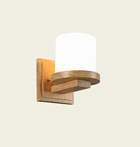 HYY-YY Chinese Solid Wood Living Room Aisle Simple and Modern Japanese-Style Wall Light Bedroom Bedside Lamp E27 * 1 Warm Light Unique Discover The Light