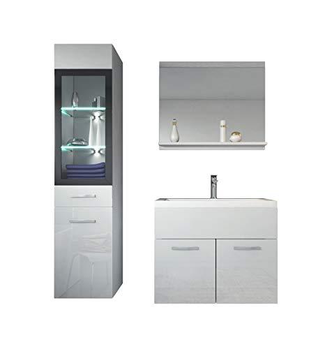 Badezimmer Badmöbel Set Rio LED 60 cm Waschbecken Hochglanz Weiß Fronten - Unterschrank Hochschrank Waschtisch Möbel