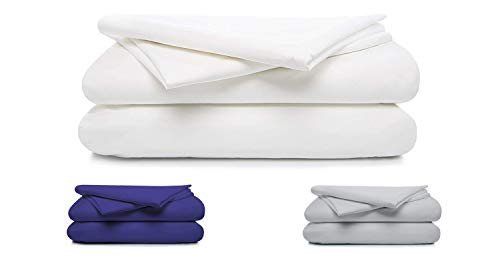 100% Cotton Percale Sheet Set, Soft & Crisp 4 Piece Set,Long Staple Combed Cotton, 16' Deep Pocket, Hotel Quality, Oeko-TEX Certified -(Queen, White)- by Boston Linen Co.