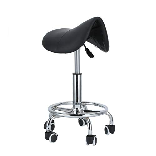 Homgrace Saddle Beauty Salon Rolling Swivel Stool, Tattoo Massage Facial Spa Adjustable Gas Lift Stool Chair for Massage Manicure Hairdressing (Black 5)