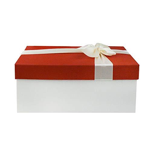 Emartbuy Rígido lujo Rectángulo en Forma de Caja de Regalo de Presentación, 31 x 21 x 15 cm Caja Roja Con Tapa de Color Crema, Interior Marrón Chocolate y Lazo Decorativo de Raso Satinado