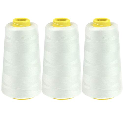 TWIFER 3-Pack All Purpose Sewing Thread Spools for Sewing, Quilting, Serger Machines, Overlock, Merrow & Hand Embroidery