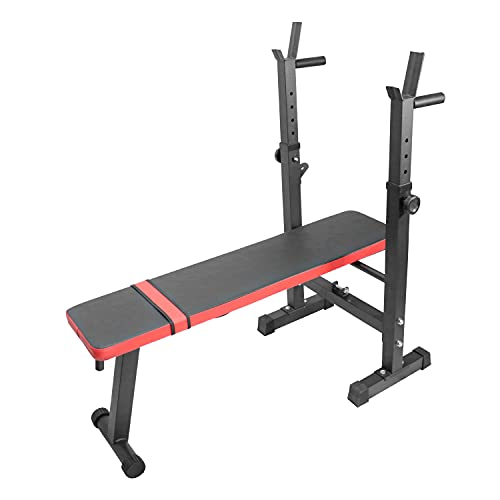 luckeu Banc de Musculation Pliable Réglable avec Support de Barres pour Haltère et Station à Dips, Formation à domicile Gym Chest Press Asseyez-vous Équipement d'exercice