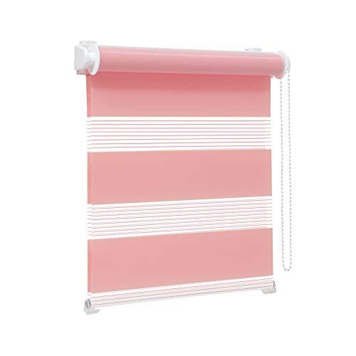Victoria M. Zevra Estor Doble Enrollable - Estor día y Noche translúcido, 160 x 160 cm, Rosa