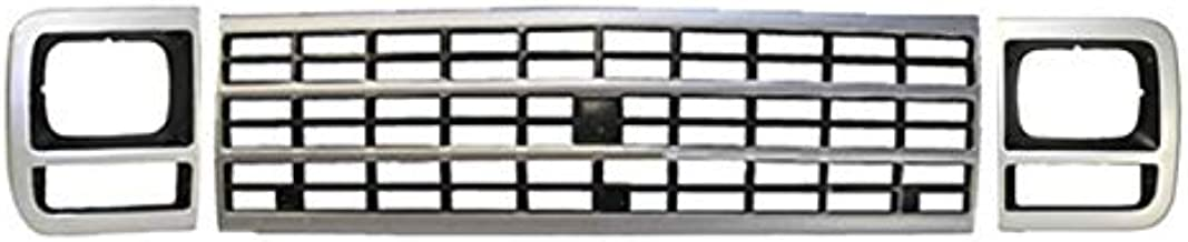 Bundle Fits 1992-1996 Chevy G20 G30 Van Single Rectangular Grille Headlight Door Bezel Silver/Gray 3pcs GM1200203 GM2512181 GM2513181