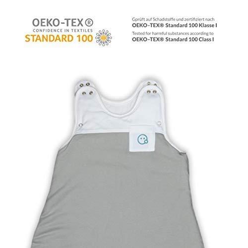 VABY – Baby Schlafsack, OEKO-TEX ®, aus Baumwolle und Bambus, Ganzjahres Schlafsack, Babyschlafsack verstellbar, für Neugeborene bis zu max. 2 Jahren, mitwachsend, Junge und Mädchen, 2.5 TOG (Grau) - 2