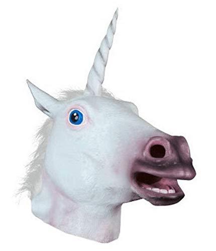 Accoutrements Magical Unicorn Mask Animal Costume Mask Latex Prop Gangnam Style (White)