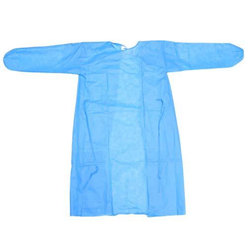 Artibetter Robe de Protection Jetable Non-Tissé Tissu Étanche Combinaison Combinaison Couverture Infirmière Médecin Uniforme Tissu avec Élastique Manchette pour Hôpital Laboratoire