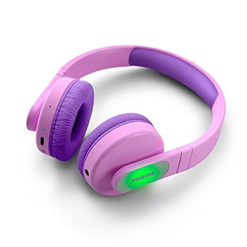 PHILIPS Cuffie On-Ear Wireless per Bambini TAK4206PK/00 Bluetooth, con Volume Limitato, Fino a 28 ore di Riproduzione, Design Colorato, Rosa con Luci, Nuova Versione