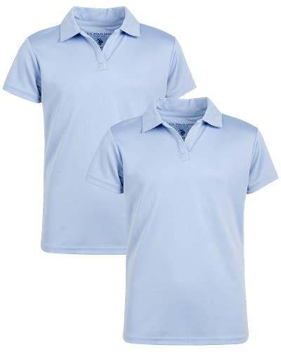 U.S. Polo Assn. Girls' School Uniform Shirt - Performance Short Sleeve Polo T-Shirt (2 Pack), Size 10/12, Light Blue