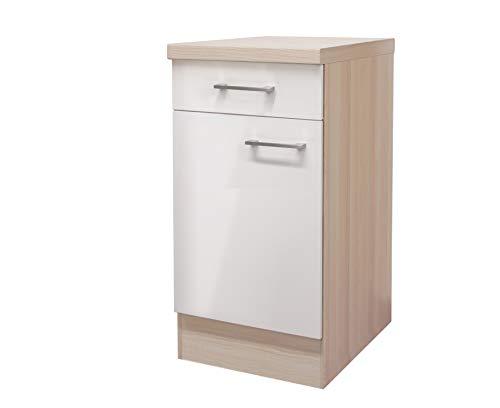 MMR Küchen-Unterschrank DERRY - Küchenschrank - 1-türig - 1 Schublade - Breite 40 cm - Perlmutt Weiß