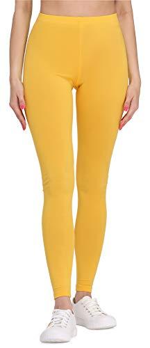 Bellivalini Damen Lange Leggings aus Viskose BLV50-147 (Gelb, S)