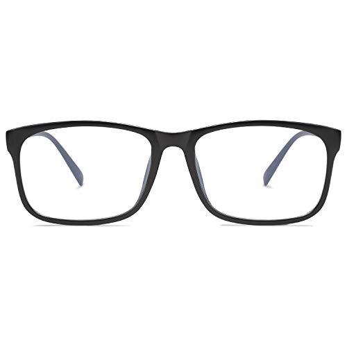 SOJOS Anti Blaues Licht Brille für Damen Herren Rechteckig Computerspiel-Gläser SJ5034 mit Matt-schwarzRahmen/Anti-Blaulicht Linse