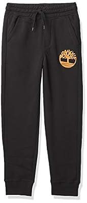 Timberland Boys' Big Graphic Fleece Jogger Pant, Black/Wheat, Medium (10/12)