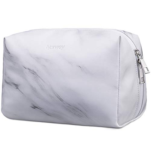 Large Vegan Leather Makeup Bag Zipper Pouch Travel Cosmetic Organizer for Women and Girls (Large, Marble)
