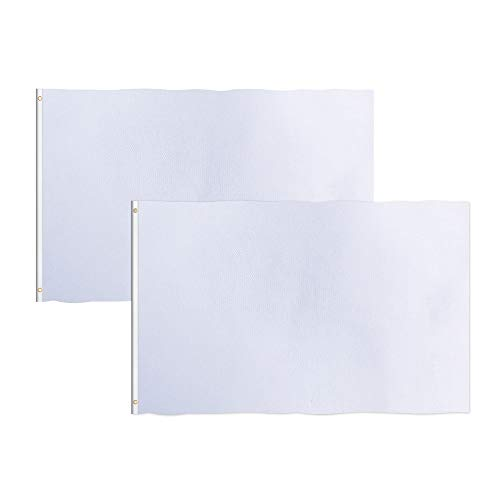 Consummate Solid White Flag 3x5 Foot Plain White Blank Flags Banner Polyester with Brass Grommets,2 Pack