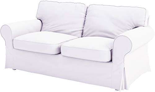 The Ektorp Two Seater Sofa Bed Cover (Durable Heavy Cotton) Replacement is Made Compatible for IKEA Ektorp 2 Seater Sleeper (Heavy Cotton White)
