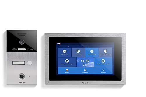 GVS Videoportero IP65 con RFID y huellas dactilares, 1 monitor de 10 pulgadas, cámara HD de 120°, apertura de puertas, memoria de 32 GB, interruptor PoE, 1 set para casa familiar, AVS5093A