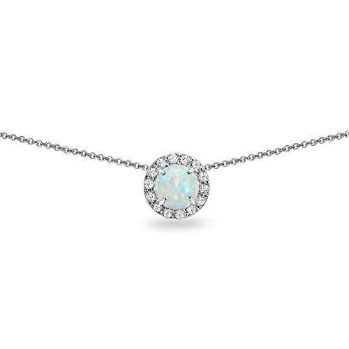 Sterling Silver Synthetic Opal and White Topaz Round Halo Slide Choker Necklace