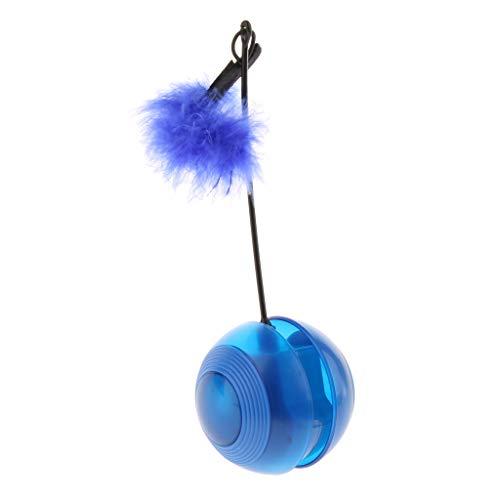 MagiDeal Juguetes para Gatos Eléctricos Kitty Tumbler Ball con Sonido de Chirrido de Grillos de Plumas - Azul
