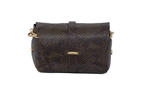 A to Z Leather Bolso clutch pequeño de mujer de auténcia y suave piel, con cadena dorada desmontable, para llevar colgado o como bolso de mano. Los bolsos pueden personalizarse con unas inicia