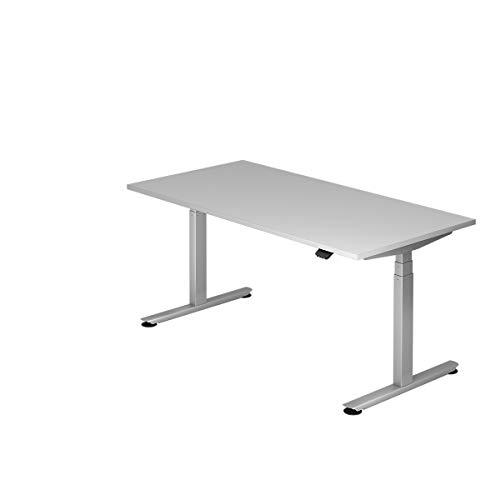 Hammerbacher Schreibtisch, elektrisch höhenverstellbar, Breite 1600 mm, Tischplatte Lichtgrau |...