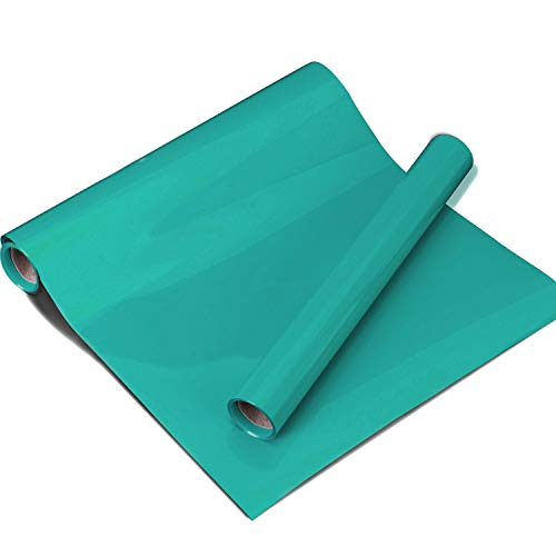 """Teal Heat Transfer Vinyl Roll 10""""x5ft Aqua HTV for T Shirts Garments Bags and Other Fabrics by Plotter Cutter"""