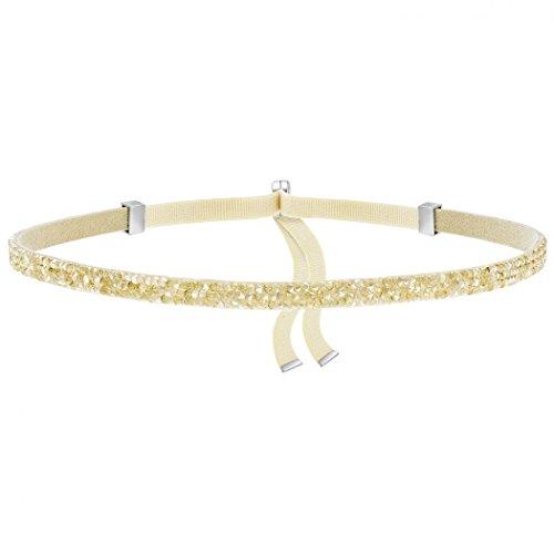 Swarovski Damen-Halsreif Edelstahl Stoff Kristall Gold 30 cm - 5279166