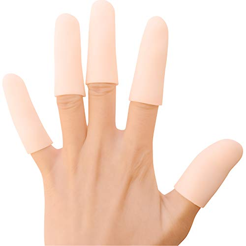 JKcare 12 Pack Gel Finger Caps, Silicone Finger Protectors Sleeves - Covers to Protect Fingertips and Provide Pain Relief from Finger Cracking, Hand Eczema (Finger Cots)